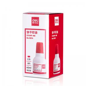 得力 9874  快干清洁印泥油 40 ml 红色
