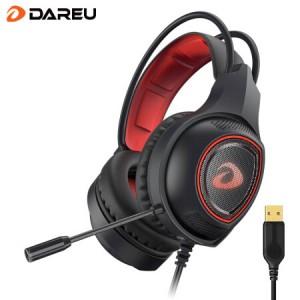 达尔优EH715 头戴式耳机耳麦 电竞游戏 电脑笔记本 (USB7.1降噪 有线耳机 家用办公) 黑色 单USB接口