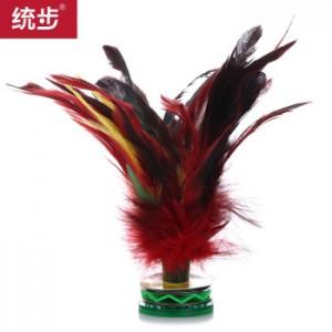 统步公鸡毛毽子 户外比赛大号彩色羽毛牛筋底比赛毽球 不易折断 精装耐用型 带球筒