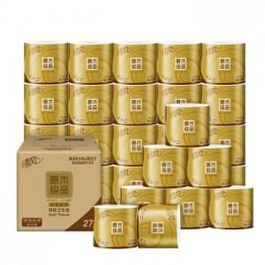 清风 (APP) B201GJE27原木纯品金装系列卷纸  4层加厚200克卫生纸*27卷 (销售单位:箱)