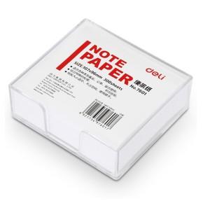 得力 便条纸带盒 7601 107*96mm 带盒 白色