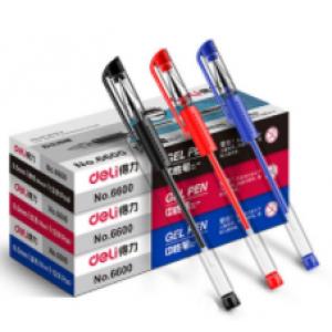 得力笔0.5mm笔帽 6600中性笔 红/黄/蓝 下单备注颜色 单位:支