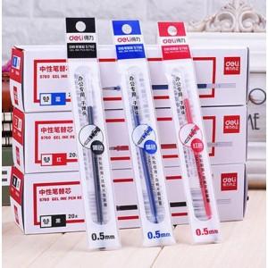 得力 Deli S760 中性笔芯 0.5mm子弹头笔芯 水笔替芯 黑色 (20支/盒)
