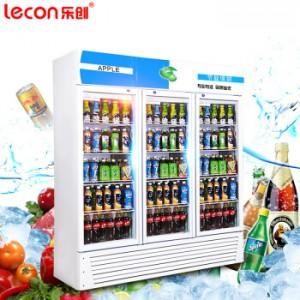 乐创(lecon)展示柜冷藏饮料柜保鲜立式冰柜商用冰箱水果鲜花啤酒柜 双门高端黑 直冷680L