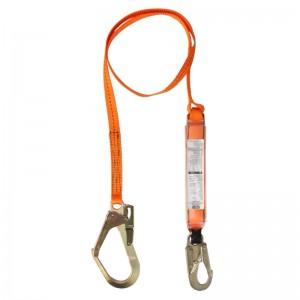 梅思安 安全绳 10128058 轻巧星单腿吸震绳 高强度聚酯材料 直径55mm 开口挂钩 长3m 抗拉强度达22KN 橙色