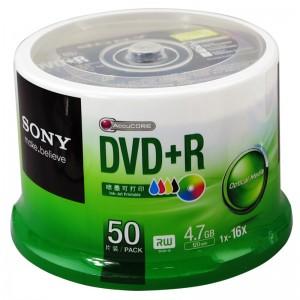索尼 刻录盘 可打印 DVD+R 50片装 4.7G