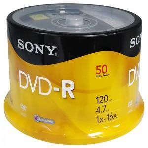 索尼 光盘桶装 DVD-R 行业装 50片装 16速 4.7G 黄色