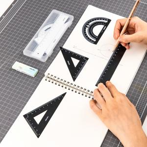 得力/Deli 79510 金属学生绘图考试套尺(直尺+三角尺*2+量角器)文具套装 混色
