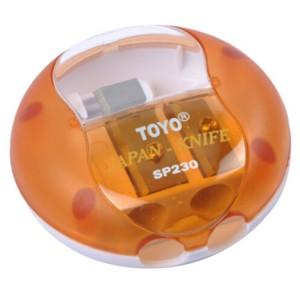 东洋(TOYO)SP230 双孔笔刨 卷笔刀 削笔器 (小飞碟) 混色