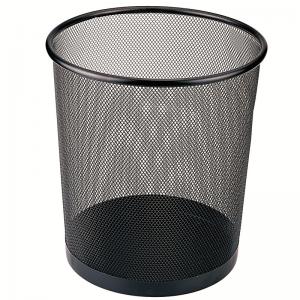 B2005 经典金属网纹圆纸篓/垃圾桶 中号 黑色(单位:个)