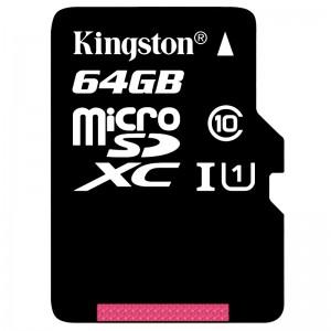金士顿TF高速存储卡 SDC10G2 64GB 80MB/s MicroSD Class10 UHS-I 黑色