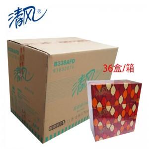 清风 B338AFD 2层 200抽 商务盒装面巾纸抽纸 3包/提 12提/箱(单位:箱)