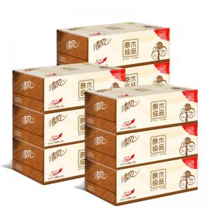 B338CN 原木盒装抽纸 面巾纸 2层200抽 3盒/提 12提/箱(单位;提)
