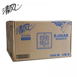 BJ00AB 180米3层原木珍宝大卷纸 12卷/箱 白色(箱)