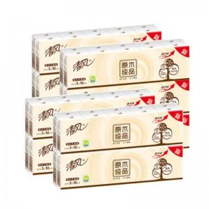 清风  原木纯品3层 210mm*210mm*3层 手帕纸面巾纸( 10包 /条 48条/箱)单位:条