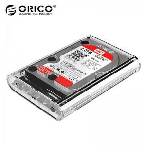 奥睿科 移动硬盘盒 3139C3 支持3.5英寸SATA接口硬盘 输出USB3.1Gen1/Type-C接口 高硬度PC材料 透明