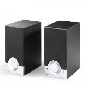 漫步者2.0电脑音箱木质 R18T 多媒体桌面小音响 黑色